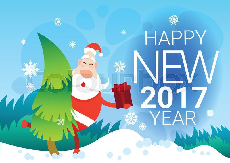 santa claus with present box christmas winter holiday pine snow happy new year celebration banner flat vector illustration vector