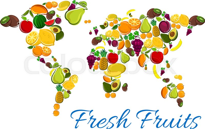 Fruits Map Vector Icons Of Fresh Fruit Icons In Shape World Map - World map shape