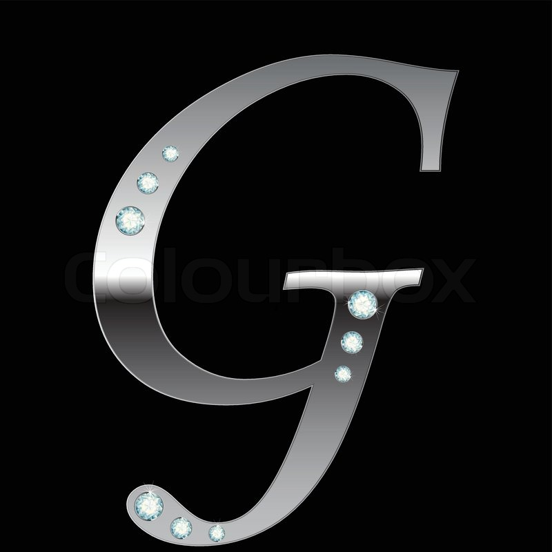 Vector Silver Metallic Letter G With Stripes Isolated | Stock Vector |  Colourbox