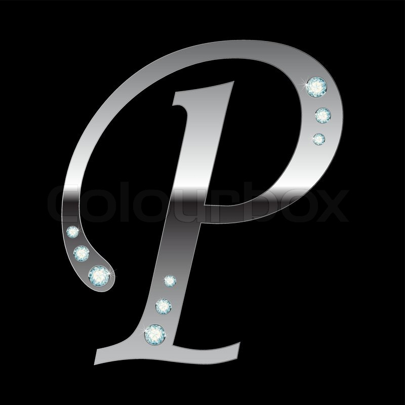 Vector Silver Metallic Letter P With Stripes Isolated Stock Vector