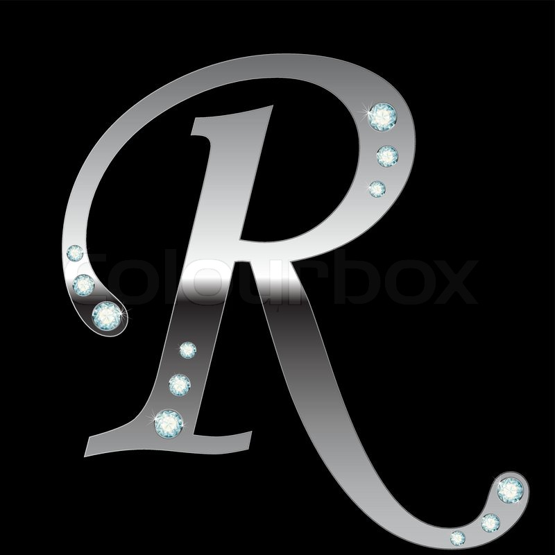 vector silver metallic letter r with stripes isolated stock vector colourbox. Black Bedroom Furniture Sets. Home Design Ideas