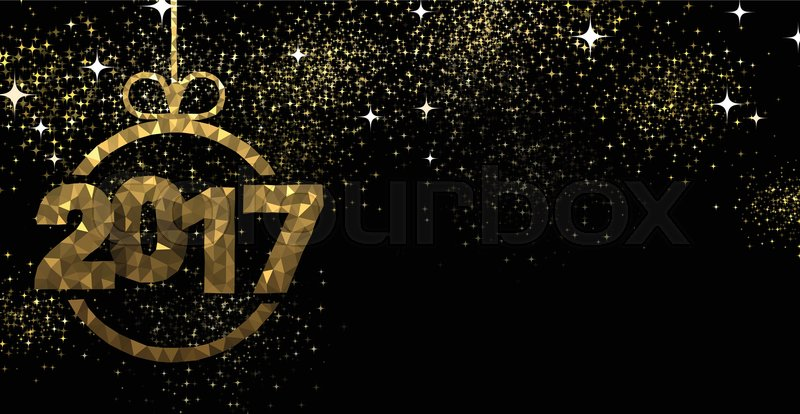 2017 new year black background with golden christmas ball vector illustration vector