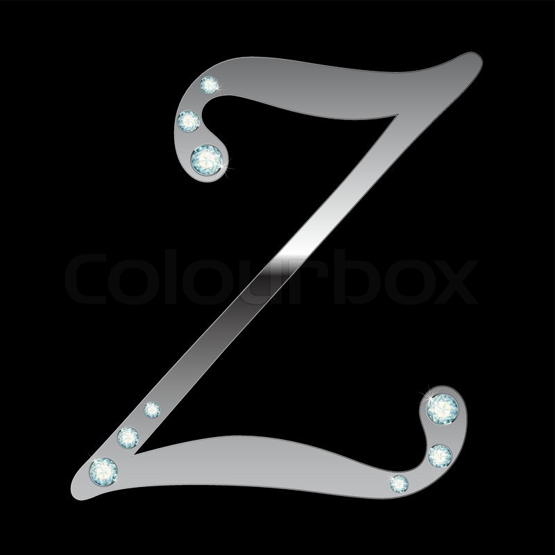 Vector Silver Metallic Letter Z With Stripes Isolated