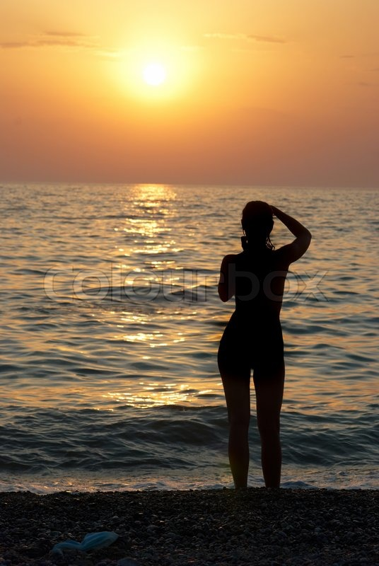 Girl Beach silhouette video pictures catalog photo