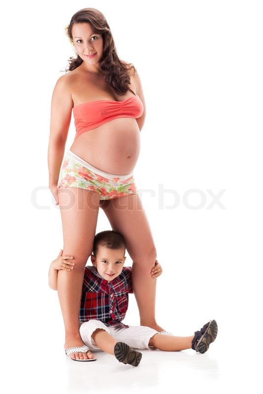 Pregnant Woman And A Little Kid Boy  Stock Photo  Colourbox-5405