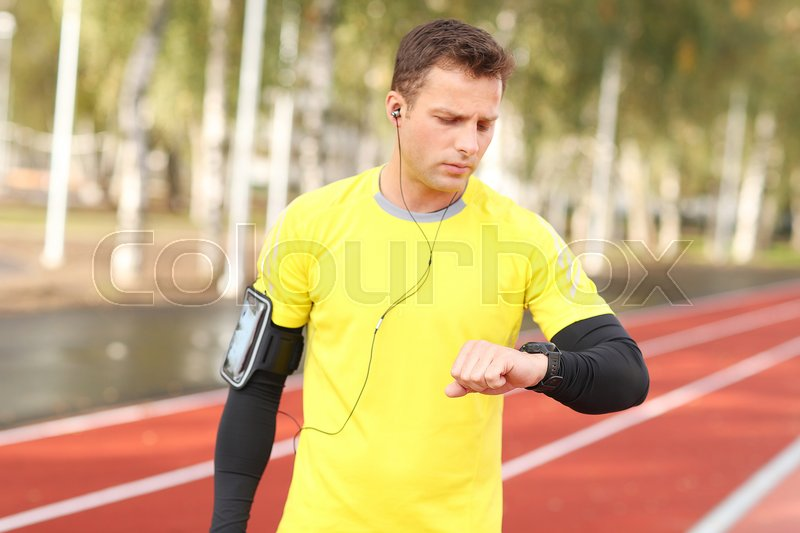 Sport and workout. Man exercise outdoor, stock photo