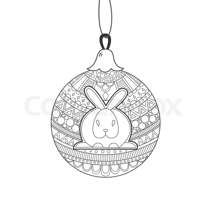 Black line Christmas ball with rabbit and ornament zentangle ...
