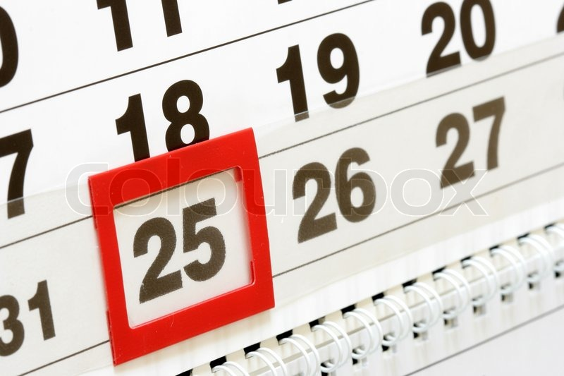 Sheet Of Wall Calendar With Red Mark On 25 December
