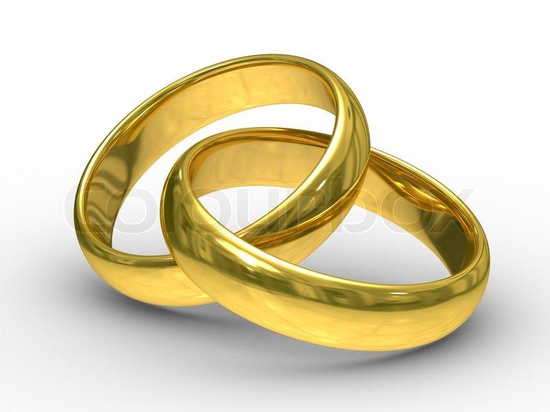 Zwei Goldene Hochzeit Ringe Stockfoto Colourbox