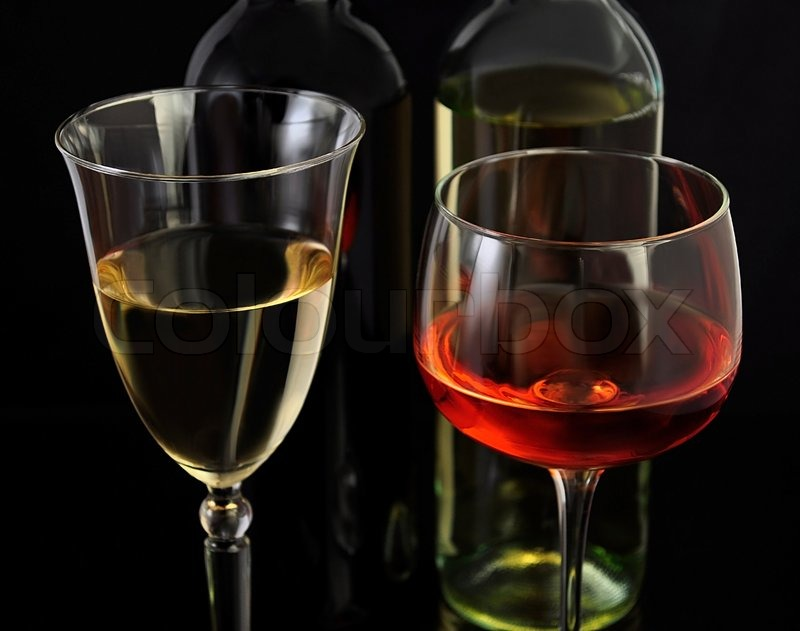 Red and white wine glasses and bottles stock photo for Red glass wine bottles suppliers