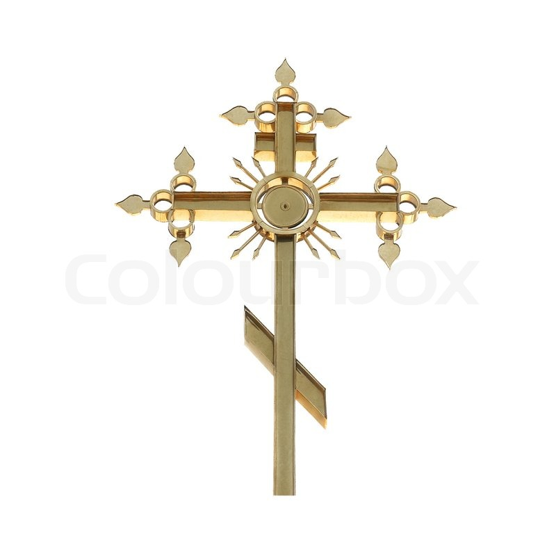Stock image of 'Golden orthodox cross isolated on white background'