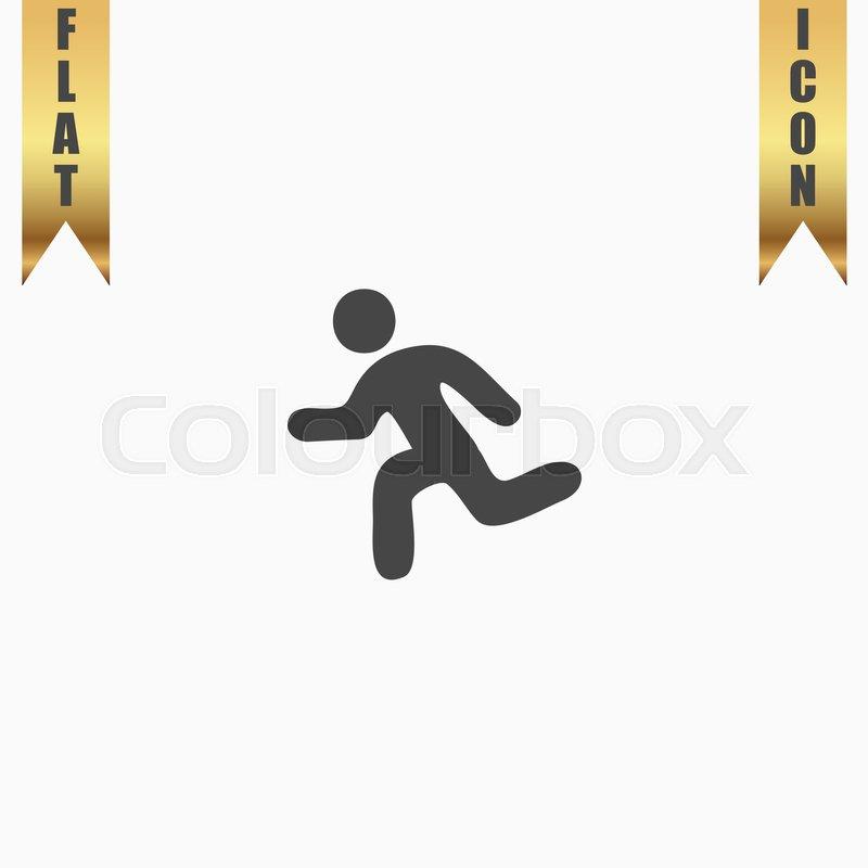 Running Man Flat Icon Vector Illustration Grey Symbol On White
