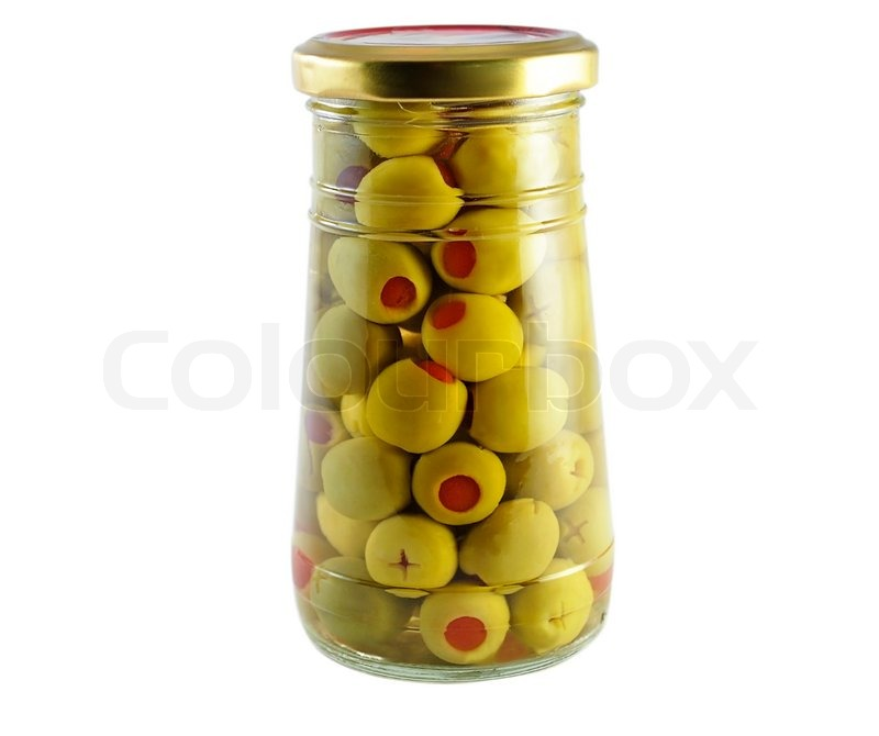 A Jar Of Green Olives On White Background Stock Photo