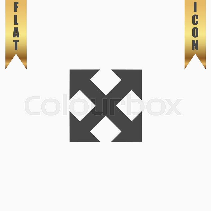 Four Sides Arrow Flat Icon Vector Illustration Grey Symbol On