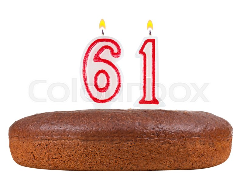 Birthday Cake With Candles Number 61 Isolated On White Background