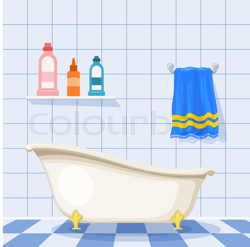 Stock Vector Of Illustration Vintage Bathtub On The Tiled Floor With Plastic Bottles