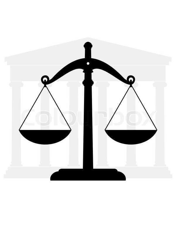 Symbols Of Justice And Low Ancient Temple And Scales