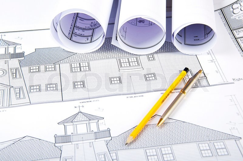 Pencil, Pen, Papers And Blueprint Workplace Engineer