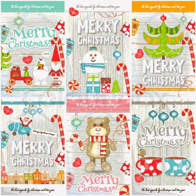 Merry Christmas New Year Mini Posters Collection With Xmas Symbols