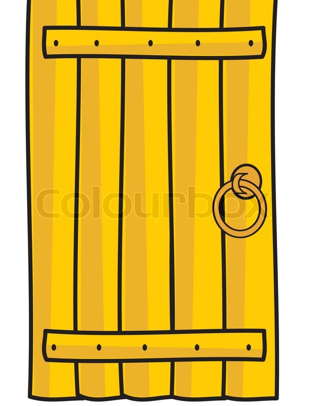 Wooden Timber Door With Handle Cartoon Style Isolated