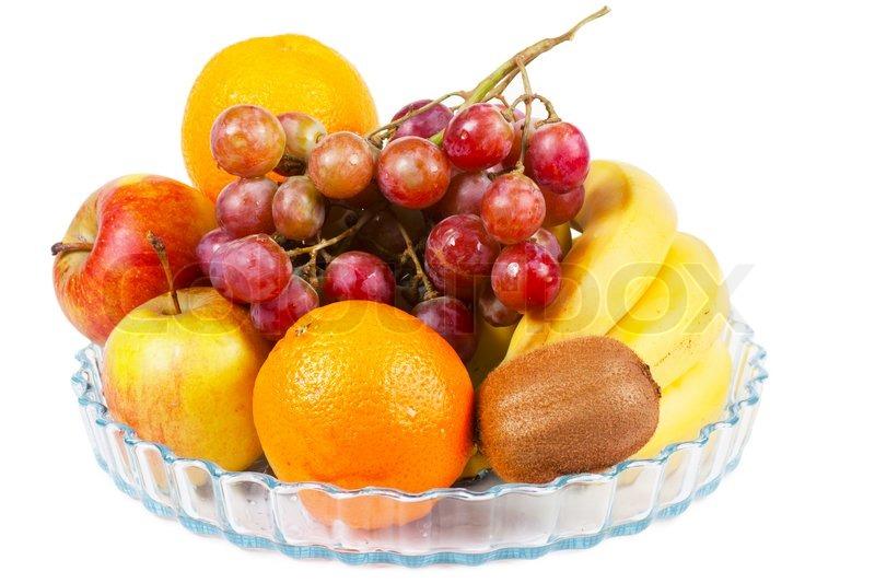 Fruits (apples, Oranges, Bananas, Kiwi) On A Plate