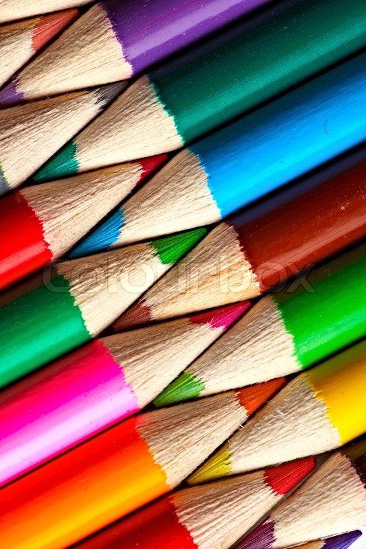 Close-up picture of multicolor pencils, stock photo