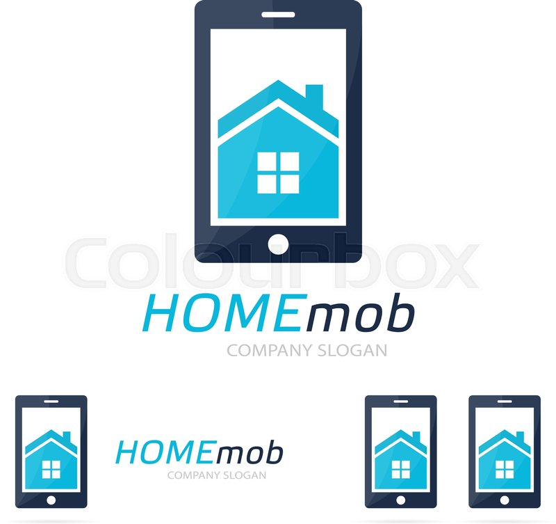 Vector House And Phone Logo Combination Real Estate And Mobile