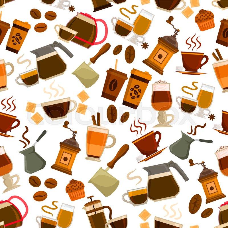 Coffee Drinks Pattern Vector Seamless Stock Vector