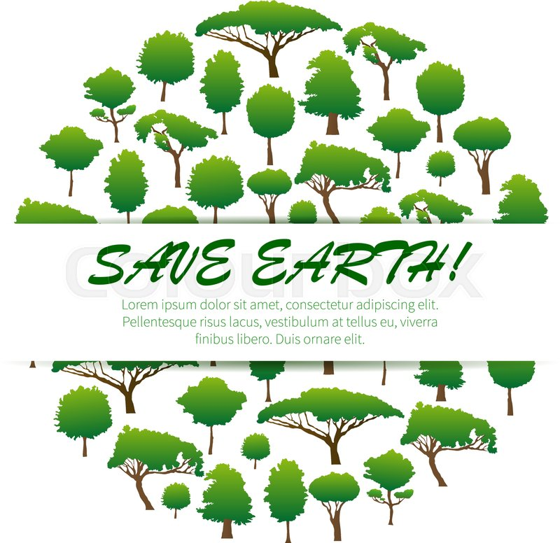 Save Earth Environmental Banner Placard Poster Emblem Design Green Nature Conservation And