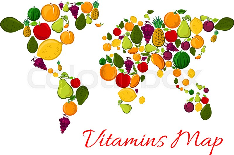 Fruit vitamins world map with fruits icons vector continents shape fruit vitamins world map with fruits icons vector continents shape made of fresh farm and tropical exotic fruits products apple mango watermelon orange gumiabroncs Choice Image