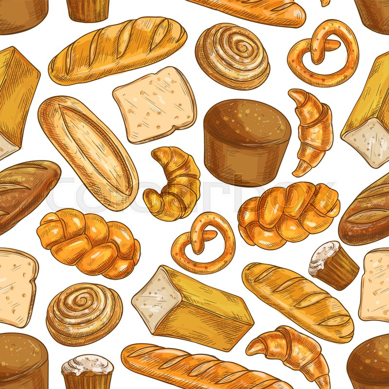 Bread Pattern Bakery Shop Seamless Sketch Bread And