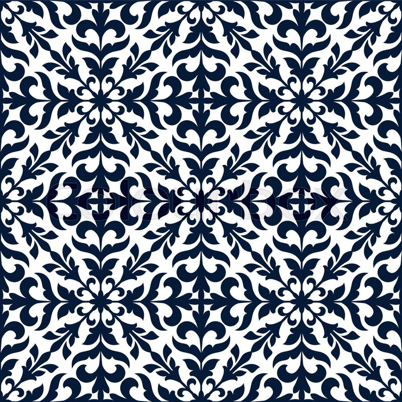 Floral stylized ornate decoration pattern tile. Vector decor tiling ...