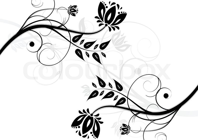 Black And White Floral Background Stock Vector Colourbox