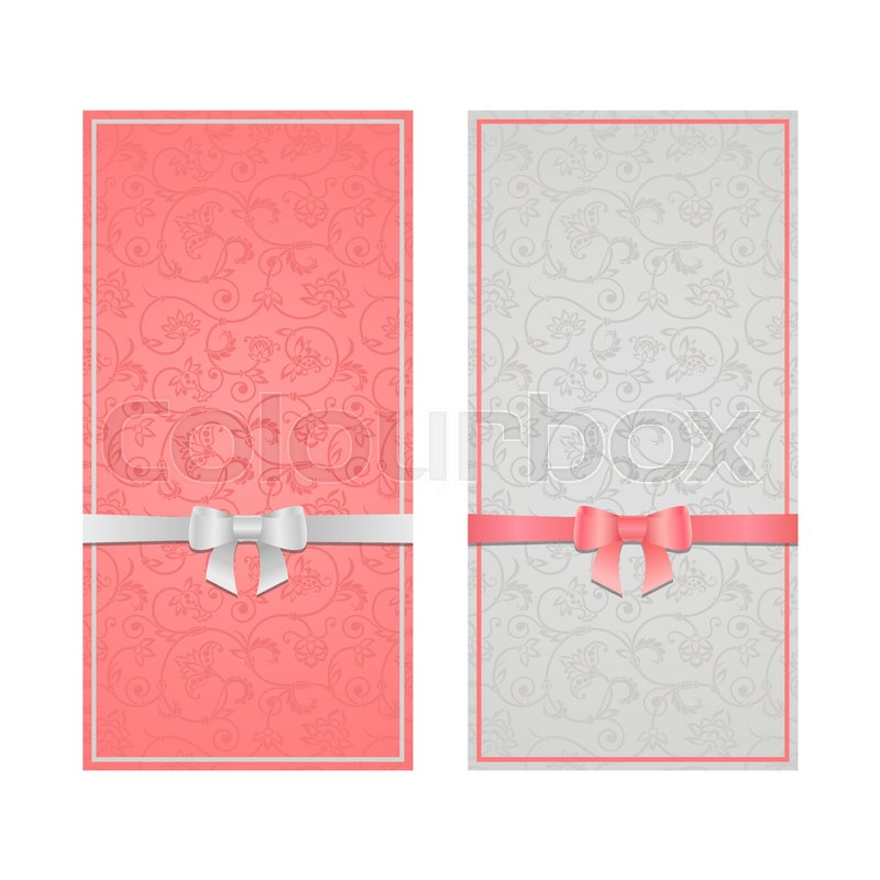 Vector set of floral decorative background with bow ribbon template vector set of floral decorative background with bow ribbon template frame design for card brochure book business card postcard wedding invitation maxwellsz