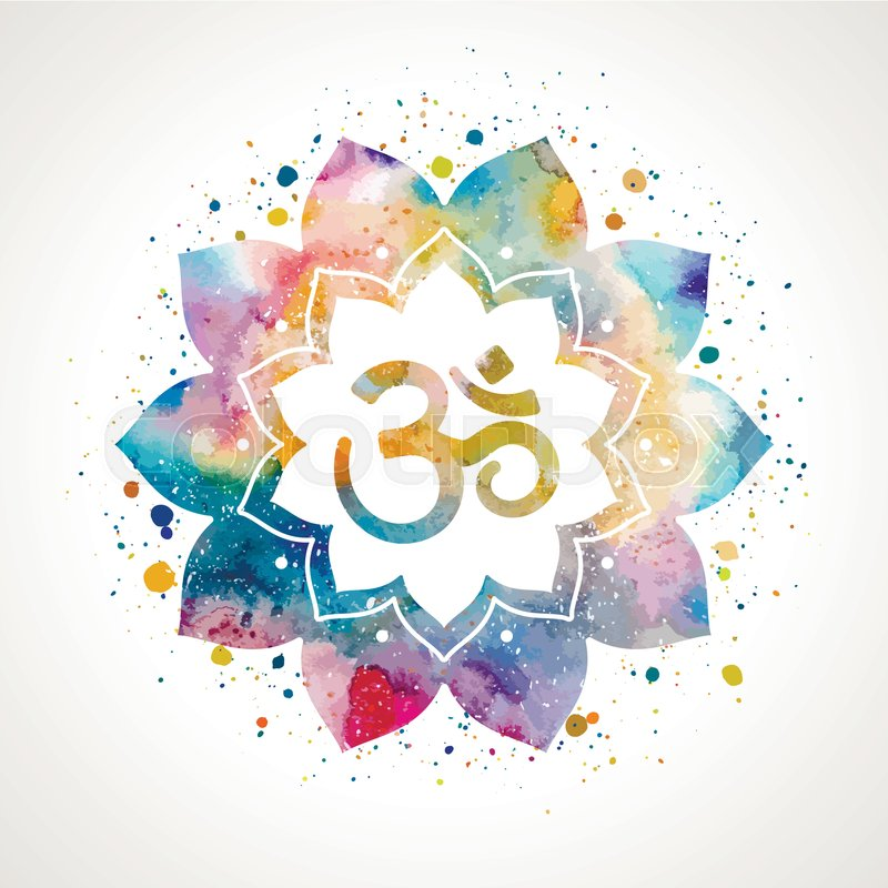 Om sign in lotus flower rainbow watercolor texture and splash om sign in lotus flower rainbow watercolor texture and splash vector isolated spiritual buddhist hindu symbol stock vector colourbox mightylinksfo