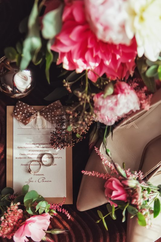Wedding details. Bouquet and bridal accessories, stock photo