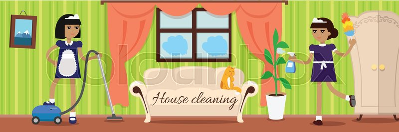 Fabulous House Cleaning Banner Two Girls In Stock Vector Download Free Architecture Designs Viewormadebymaigaardcom