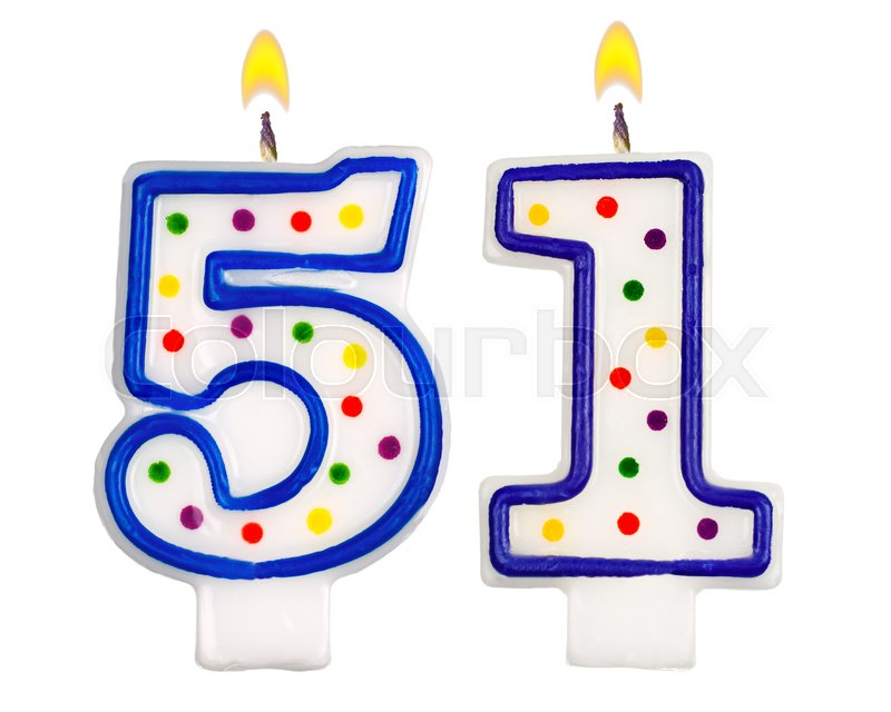 Birthday Candles Number Fifty One Isolated On White Background Stock Photo