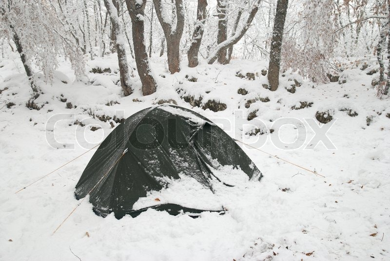 & Winter tent camp in the snow forest | Stock Photo | Colourbox