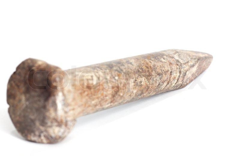 Alte Rostige Nagel Auf Einem Weiu00dfen Hintergrund Stock-Foto