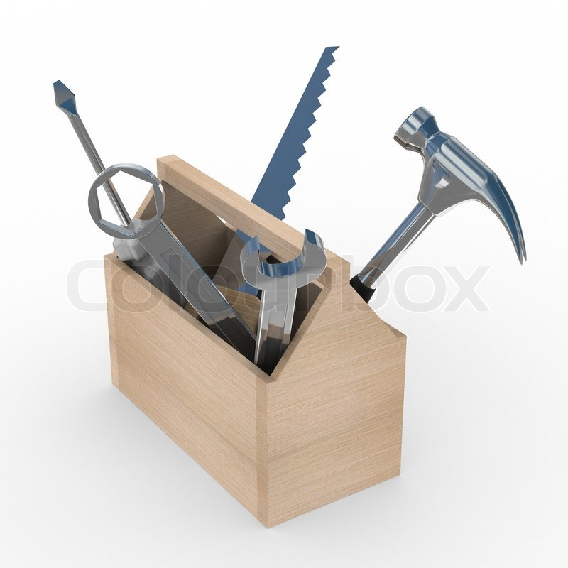 Wooden box with tools isolated 3d image stock photo 3d tool free