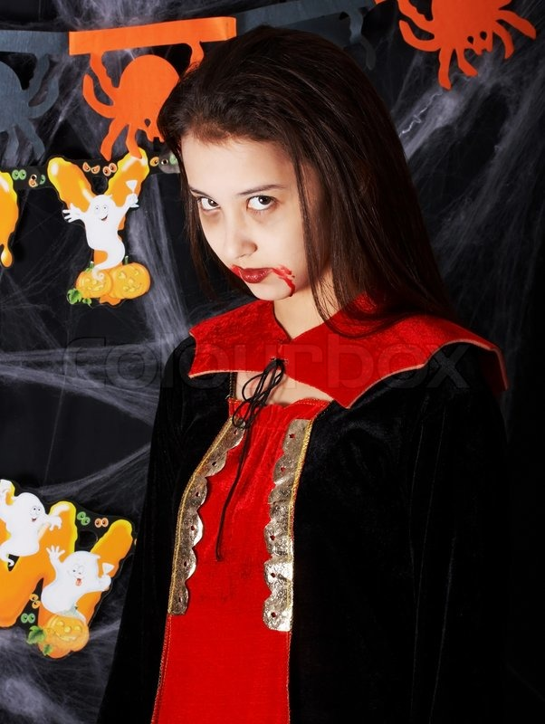 girl in a vampire costume for halloween trick or treat stock photo colourbox - Trick R Treat Halloween Costume