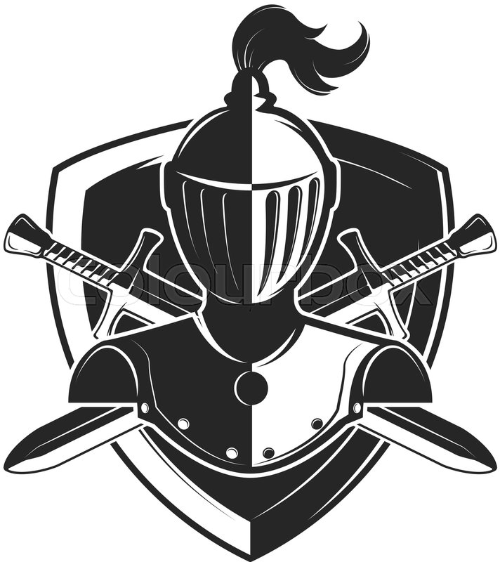 Knight helmet with two swords and shield isolated on white ...  Knights Helmet Logo