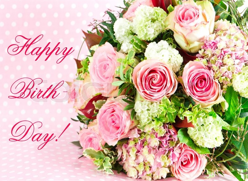 Happy Birthday! beautiful flowers bouquet | Stock Photo | Colourbox