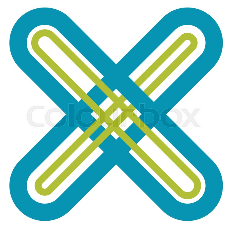 Abstract Cross X Shape Letter Symbol With Intersecting Lines With