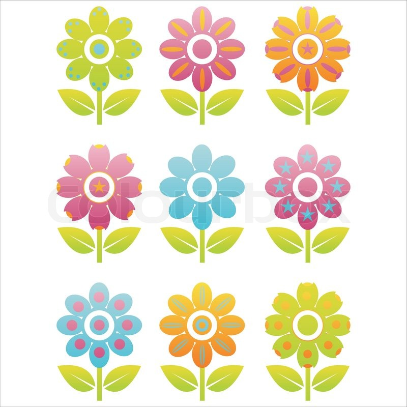 set of 9 flowers icons