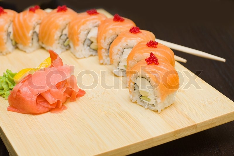 Gourmet Food Pictures sushi with salmon - japanese gourmet  | stock photo | colourbox