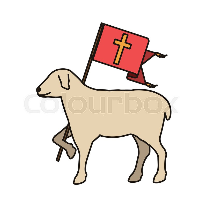 Lamb Of God Christian Symbol Icon Over White Background Vector