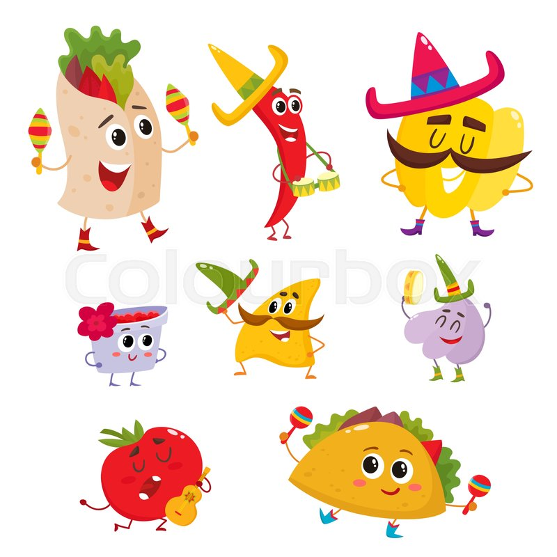 set of smiling mexican food having fun cartoon vector illustration rh colourbox com Cute Cartoon Mexican Food cartoon mexican food