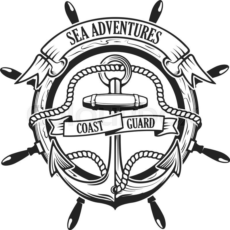 Sea adventures. Coast guard. Anchor with rope and ribbons ...